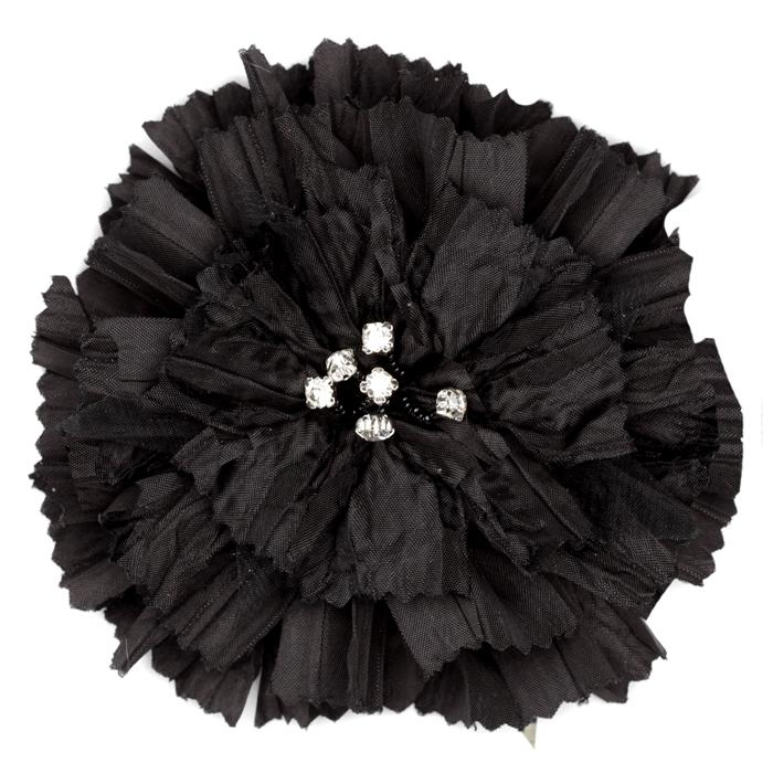 Florentina Jeweled Brooch 4 1/2'' Black
