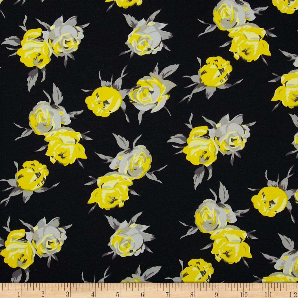 Stretch Satin Twill Floral Grey/Yellow
