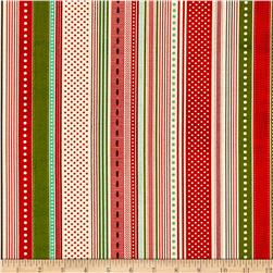Moda Berry Merry Ribbon Stripe Multi