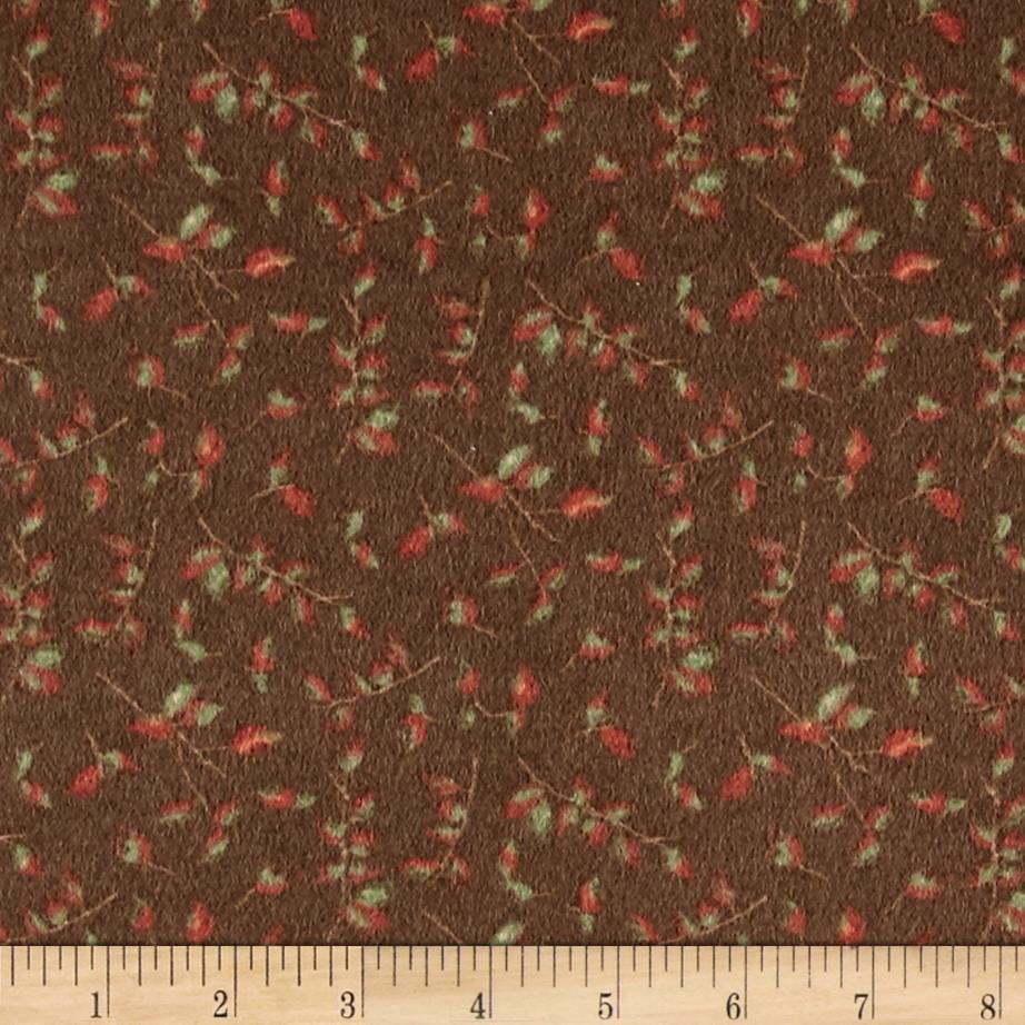 Moda Endangered Sanctuary Flannel Petite Leaves Walnut