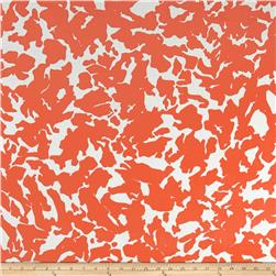 Designer Crepe Challis Abstract Print Salmon/White