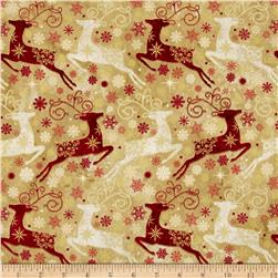 Reindeer Prance Metallic Reindeer Allover Gold