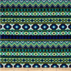 California Designer DTY Abstract Green/Blue/Black