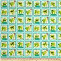 Frogland Friends Frogs In Squares Aqua