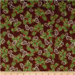Woodland Retreat Flannel Pinecones Brown