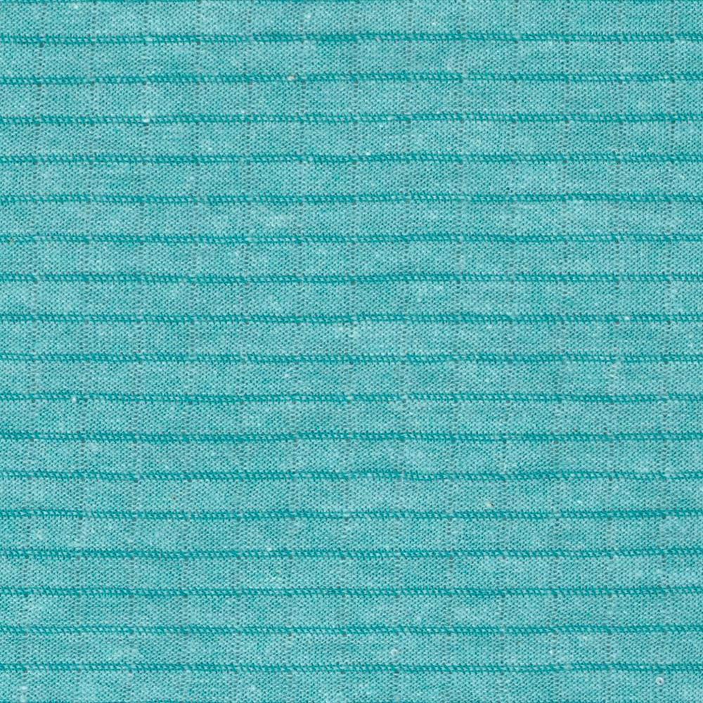 Pointelle Jersey Knit Mini Stripes Aqua