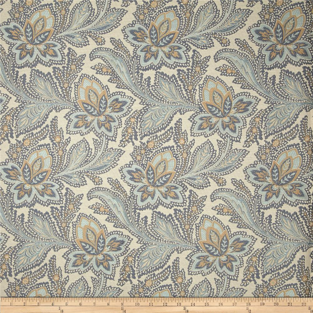 French general jacobean floral jacquard la mer discount for Jacquard fabric