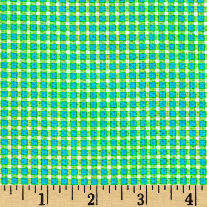 Michael Miller Cute Zoo Plaid Green Fabric