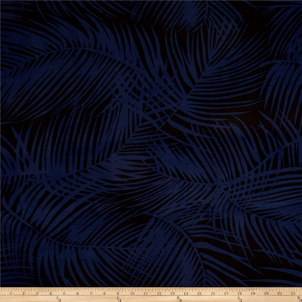 Stretch ITY Rayon Jersey Knit Brushed Leaves Dark Navy /Black Fabric By The Yard