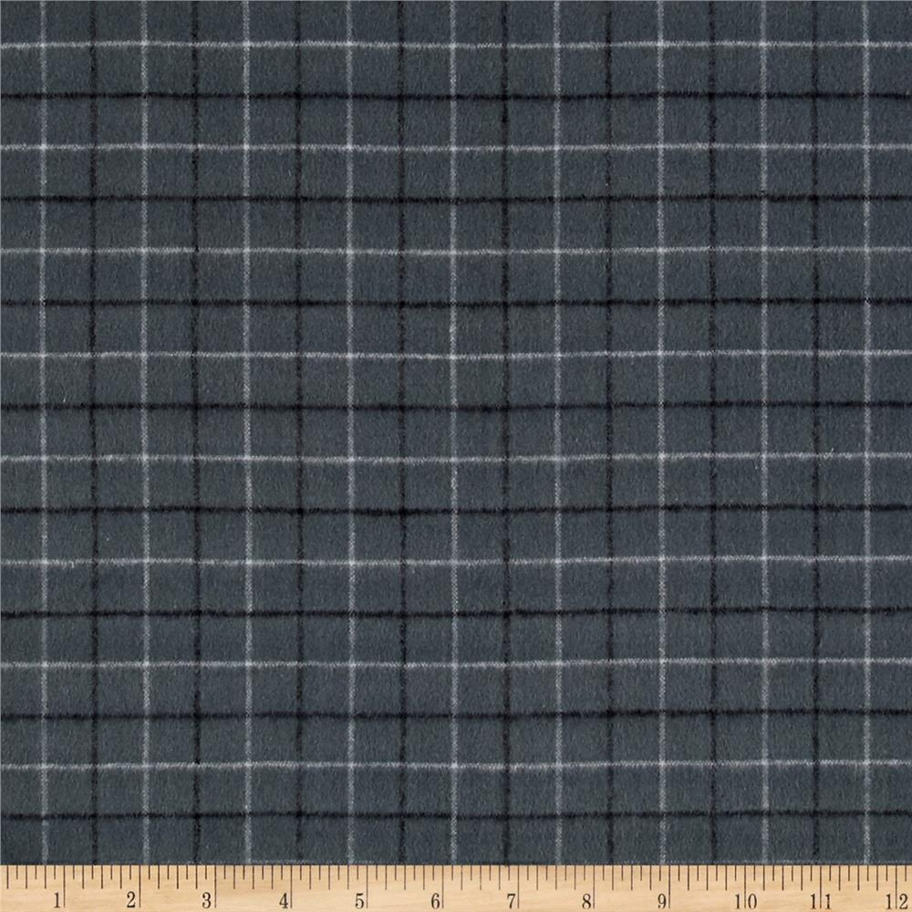 Local Color Yarn Dyed Flannels Tattersall Charcoal Fabric