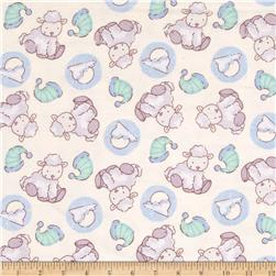 Lullaby Sheep Sleep Flannel Cream/Green