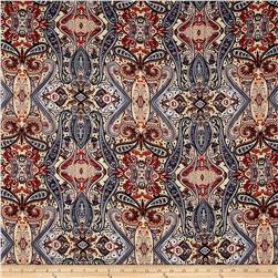 Rayon Challis Paisley Denim Blue/Orange/Baby Pink
