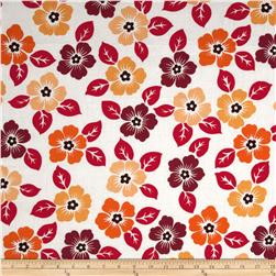 Medium Floral White/Red/Orange