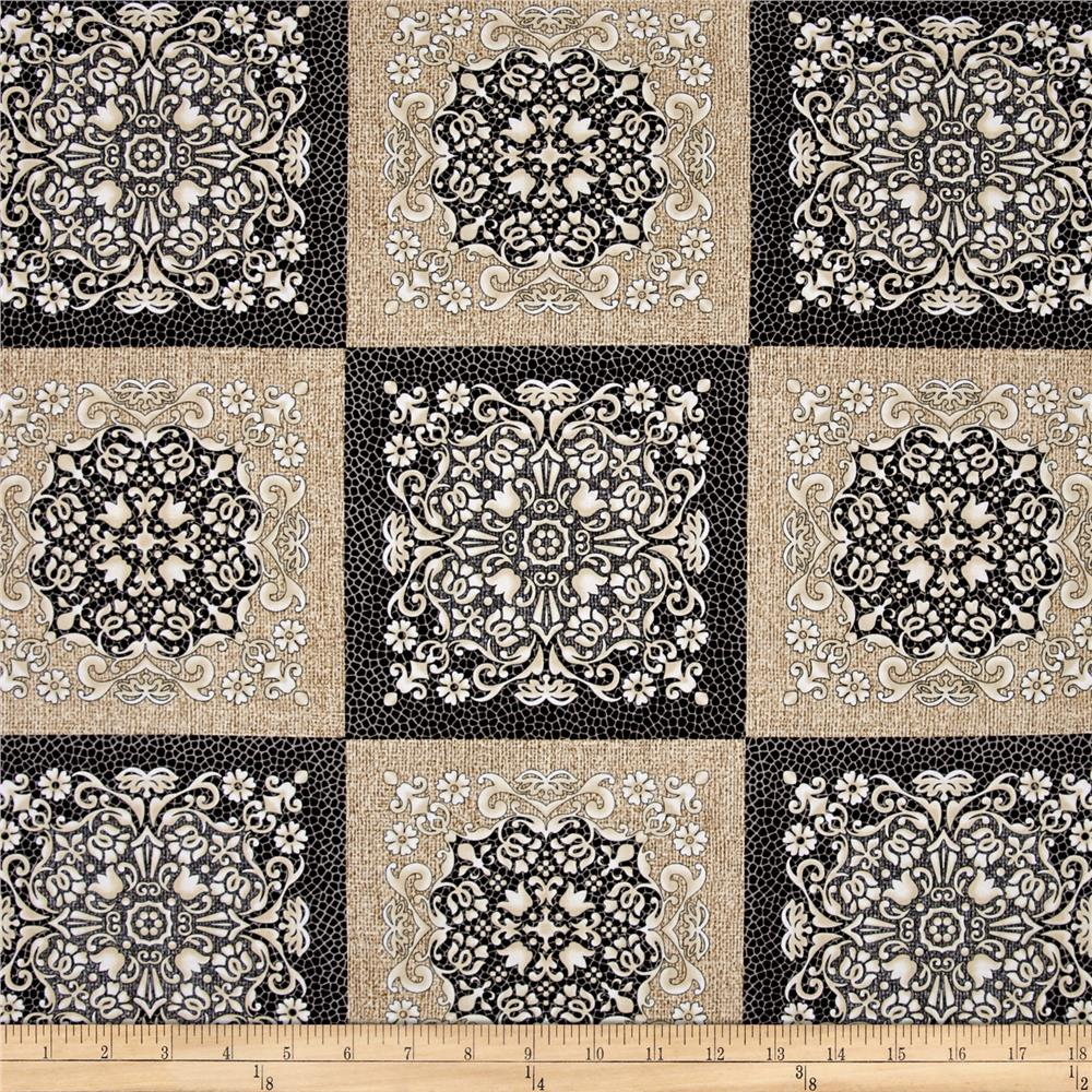 Burlap and Lace Medallion Squares Charcoal