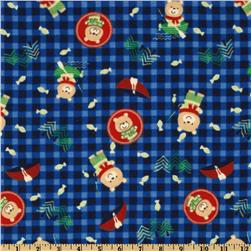 Camelot Flannel Fishing Bears Blue Fabric
