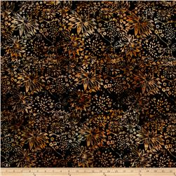 Timeless Treasures Batik Tonga Chai Wildflowers Black