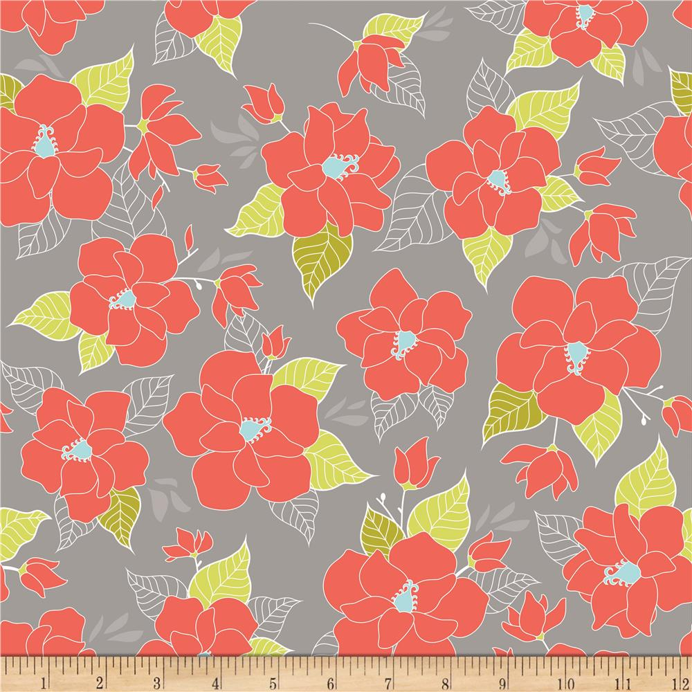 Riley Blake Lula Magnolia Large Floral Orange