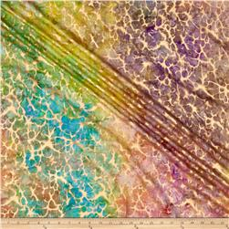 Indian Batik Montego Bay Gold Abstract  Bright Multi