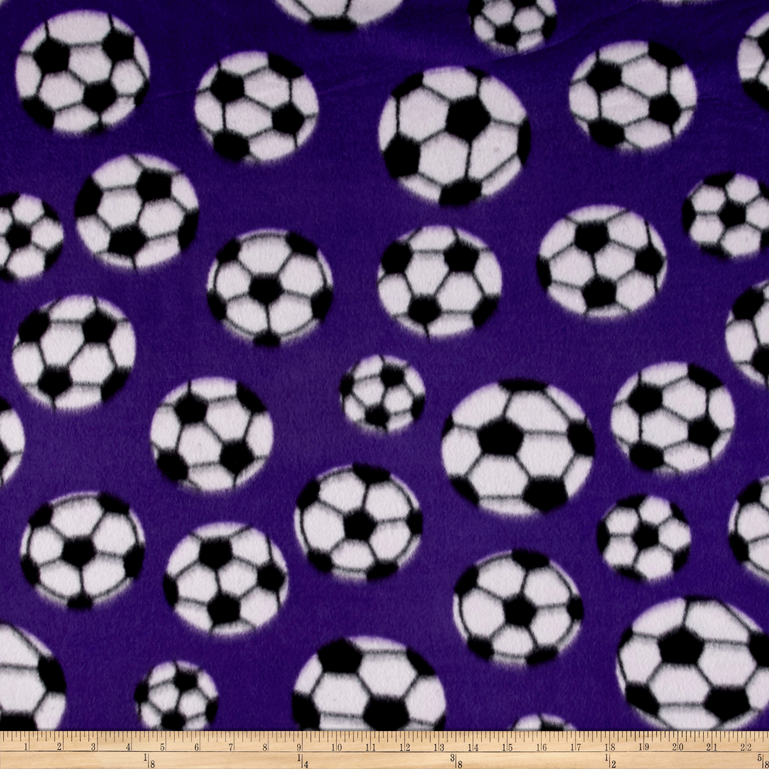 Fleece Soccer Ball Purple Fabric 0478645