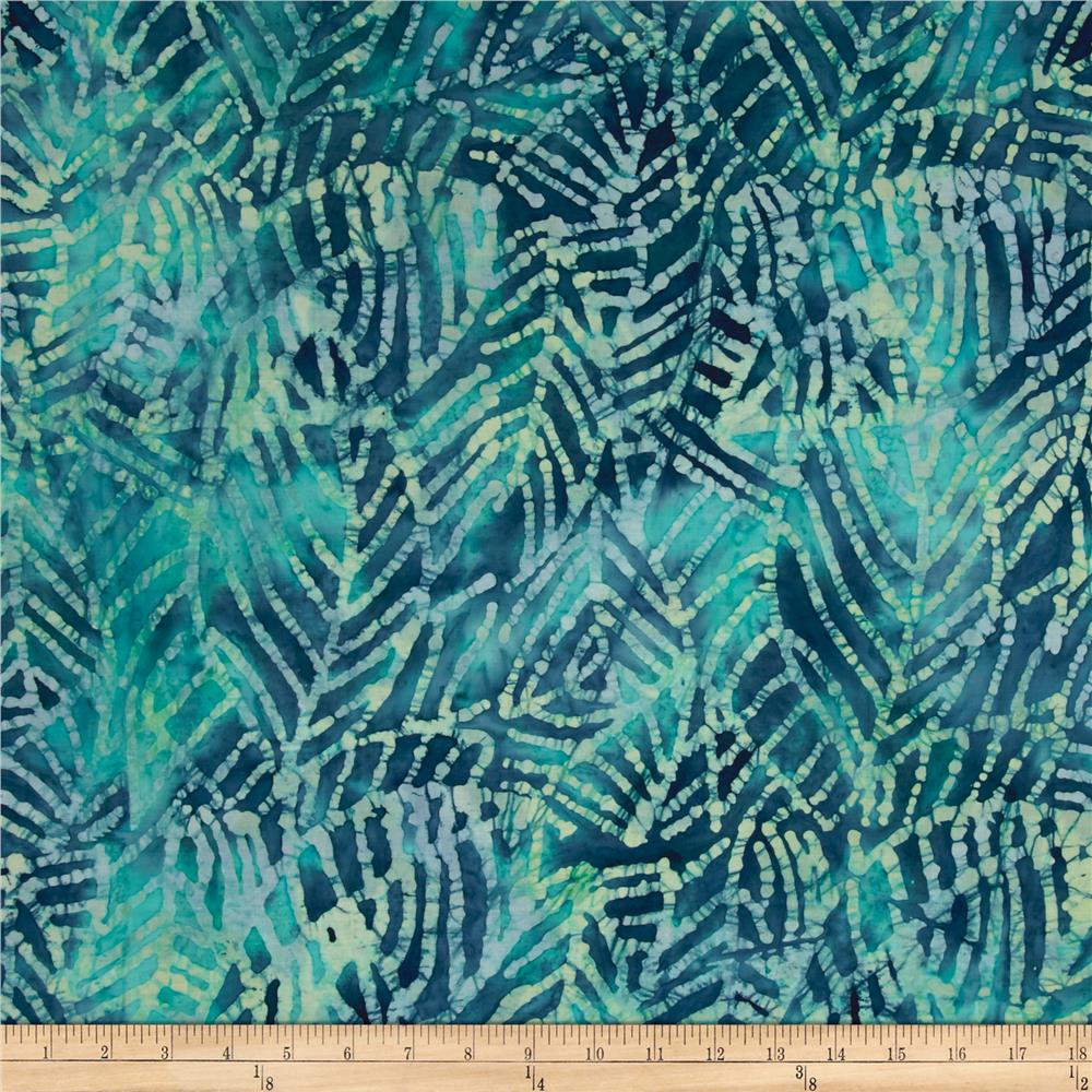 Indian Batik Moody Blues Leaf Abstract Blue/Green