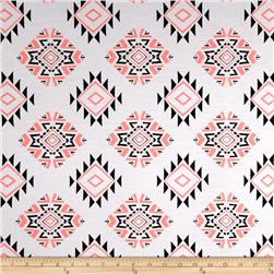 Rayon Jersey Aztec Triple Diamond Black/Coral/White