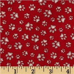 Curious Cats Paw Prints Red