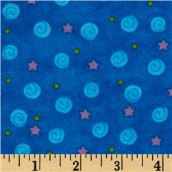 Winter Magic Flannel Stars & Swirls Royal Blue