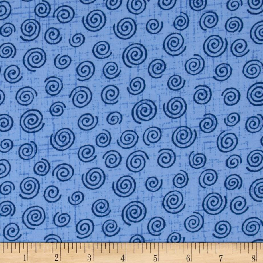 "110"" Wide Quilt Backing Swirl Blue"