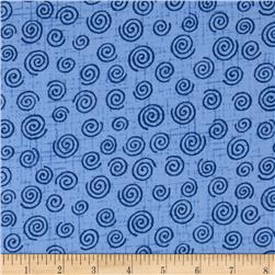 110'' Wide Quilt Backing Swirl Blue