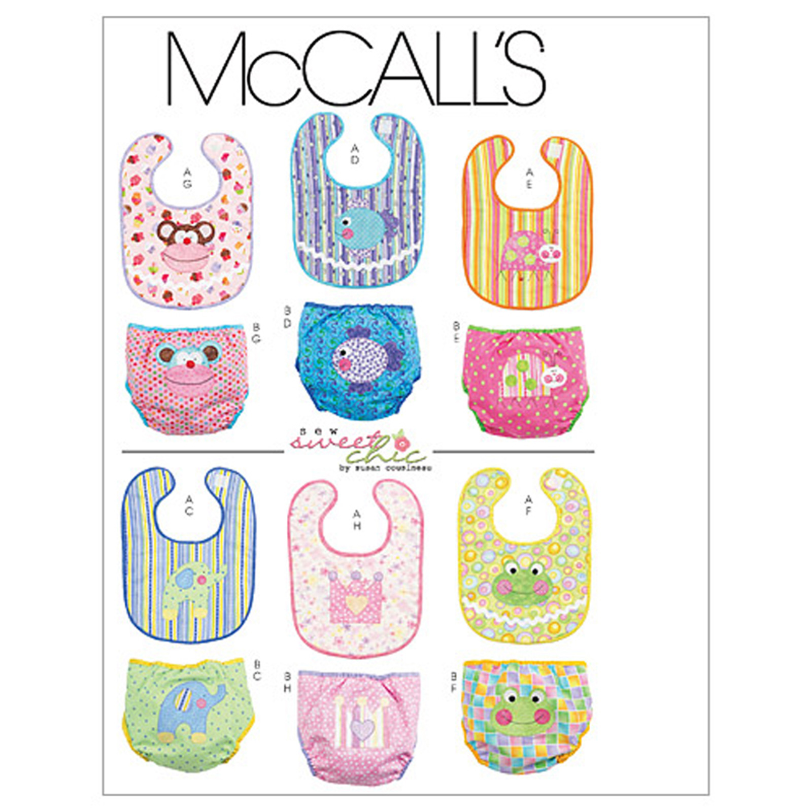 McCall's Infants' Bibs and Diaper Covers Pattern M6108 Size OSZ by Kwik Sew in USA
