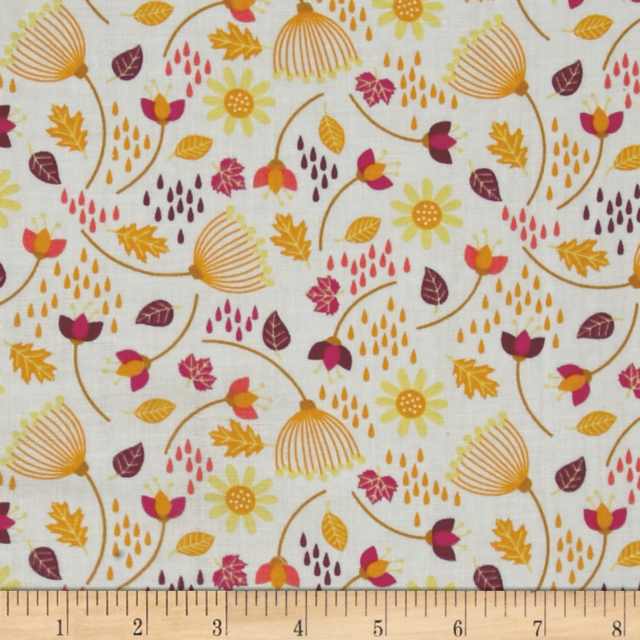Enchanted Seed Pods Double Gauze White Fabric by Eugene in USA