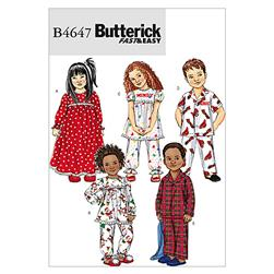 Butterick Toddlers'/Children's Nightgown, Pajama Top and Pants