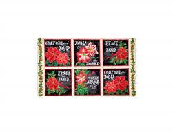 "Joy To The World Metallic Poinsettia 24"" Picture Patches Cream/Black"