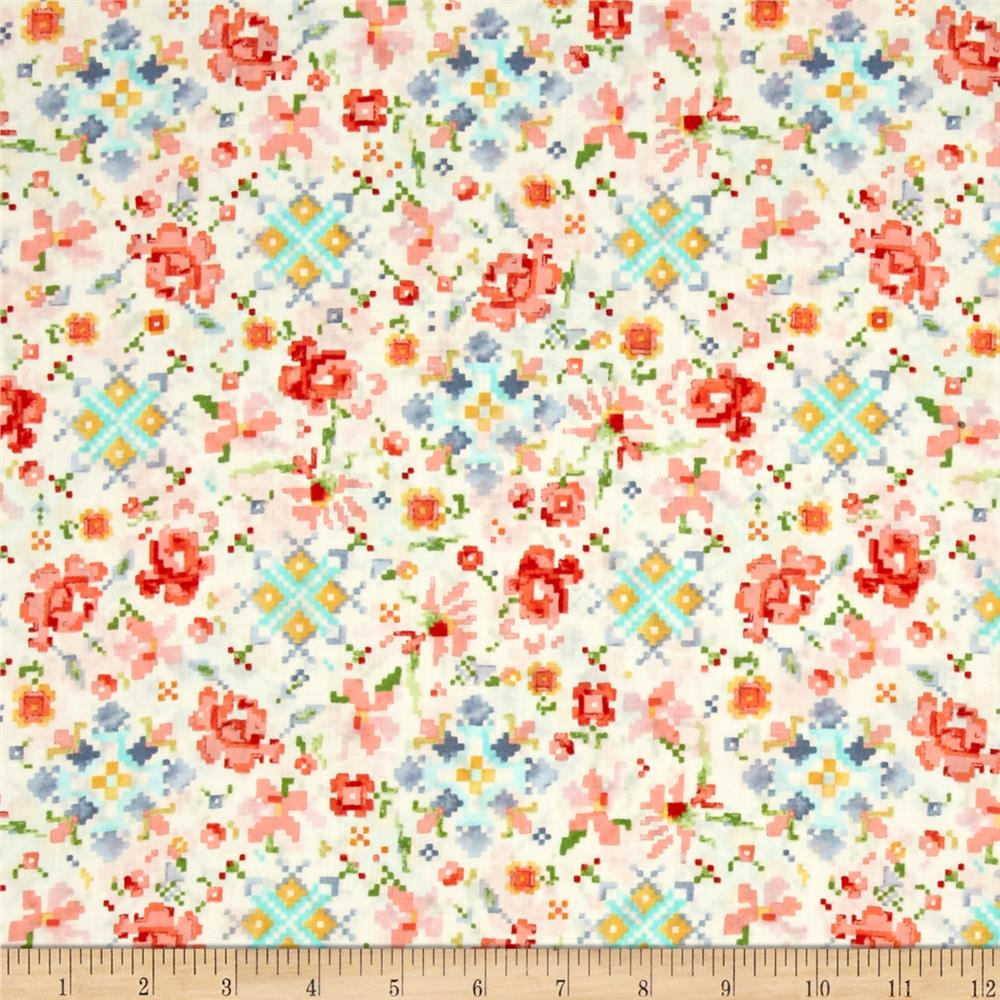 Kaufman Woodland Clearing Digital Floral Ivory