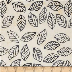 Timeless Treasures Tonga Batik Ebony Leaves Ivory