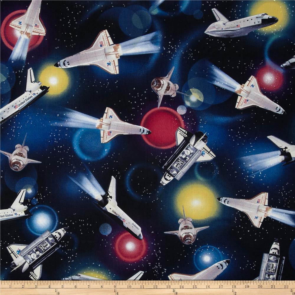 Flying high space shuttles black discount designer for Space shuttle fabric