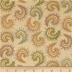 108'' Quilt Backing Spiced Paisley Dark Tan Fabric