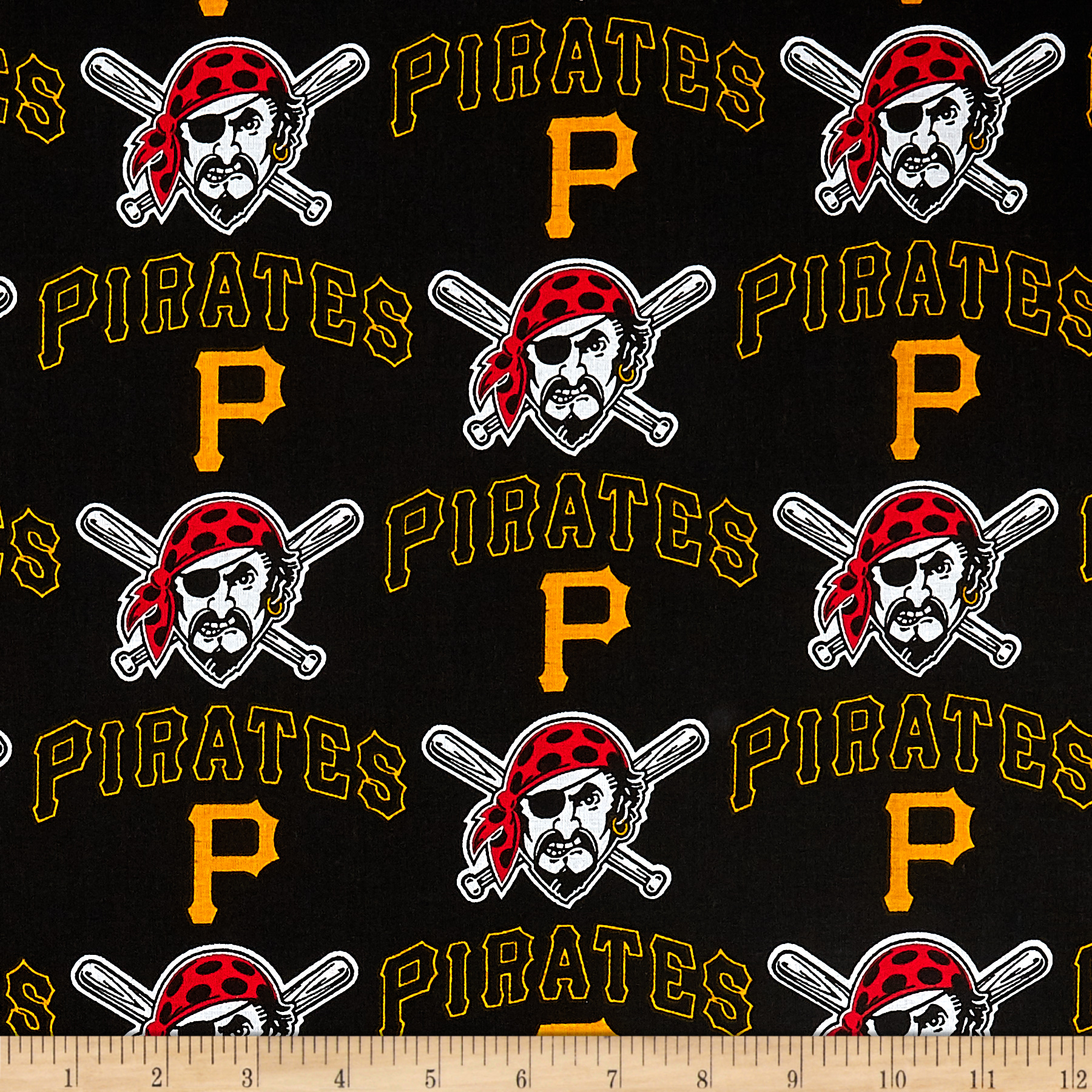 MLB Cotton Broadcloth Pittsburgh Pirates Black/Yellow Fabric by Fabric Traditions in USA