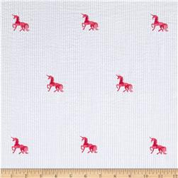 Robert Kaufman Seersucker Embrioderies Unicorn White