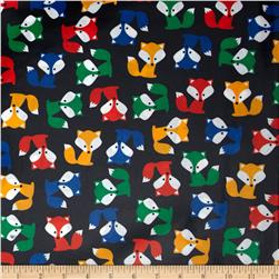Urban Zoologie Slicker Laminated Cotton Foxes Navy Fabric