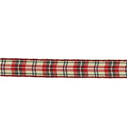 3/8'' Yarn Dyed Checker Ribbon Red/Yellow/Green Plaid