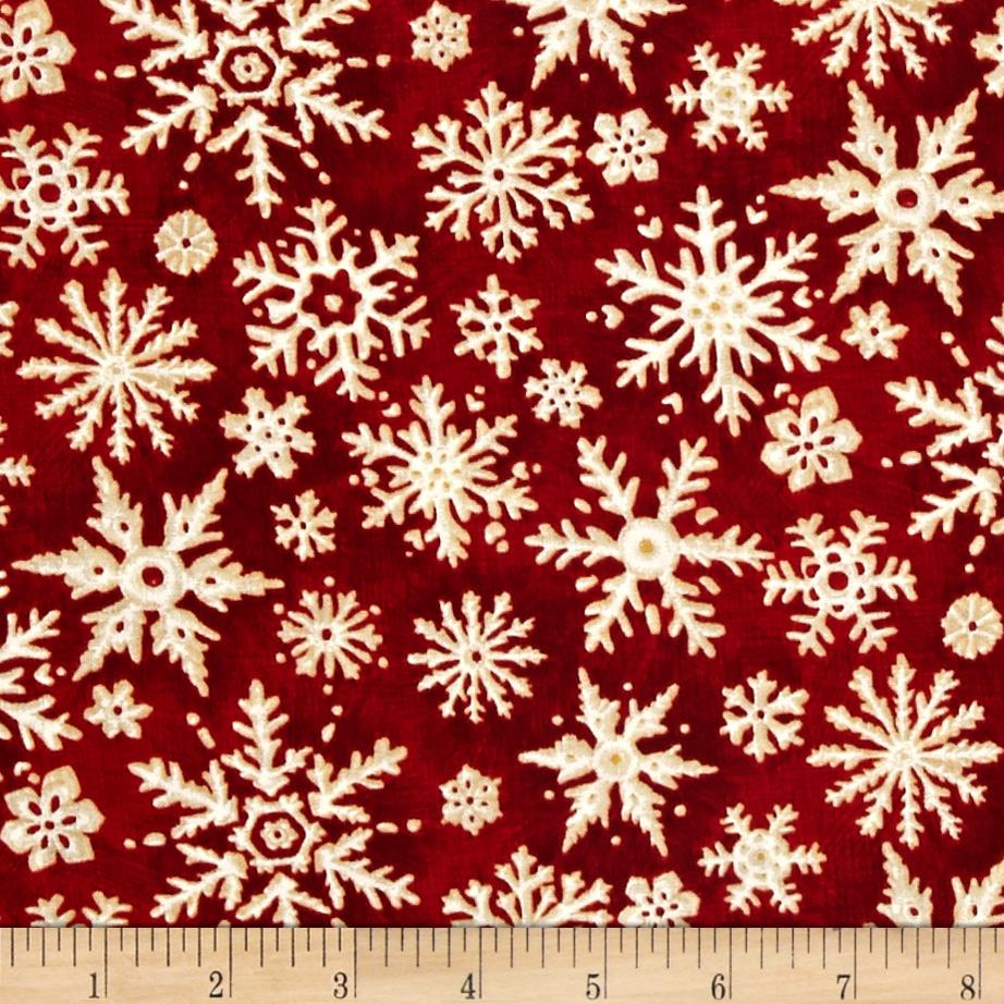 Christmas In The Woods Snowflakes Red