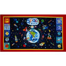 Out of This World Space Explorers Panel Blue