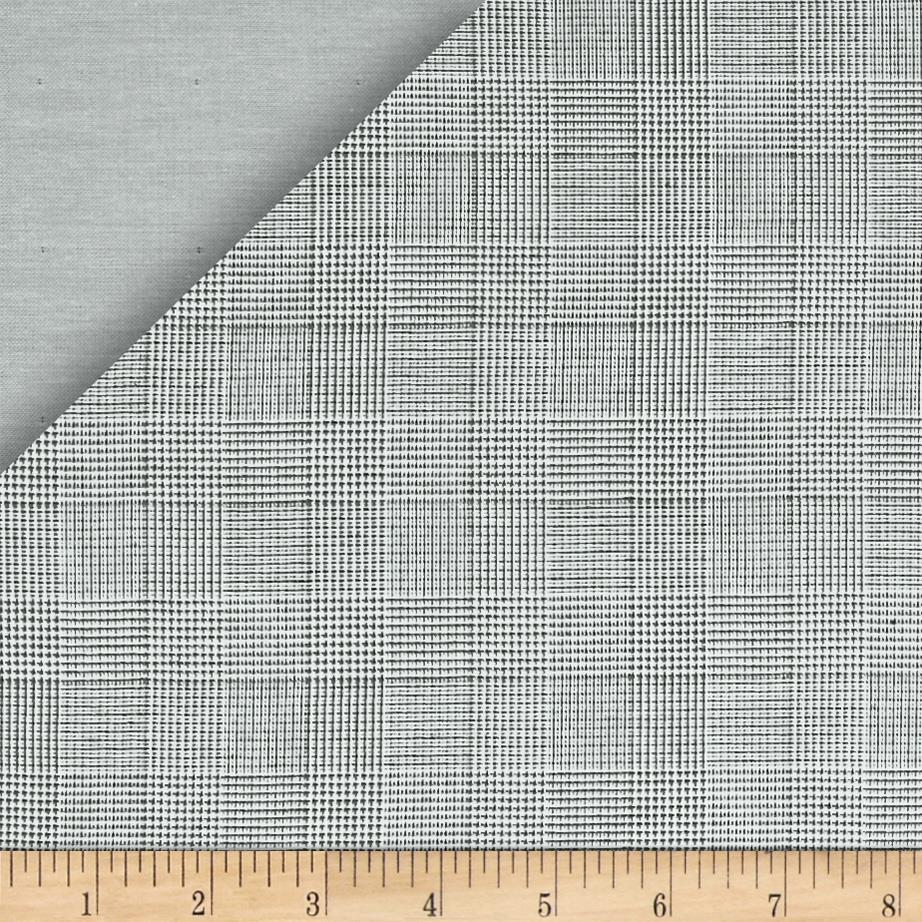Kaufman Double Cloth Cotton Glen Plaid Grey