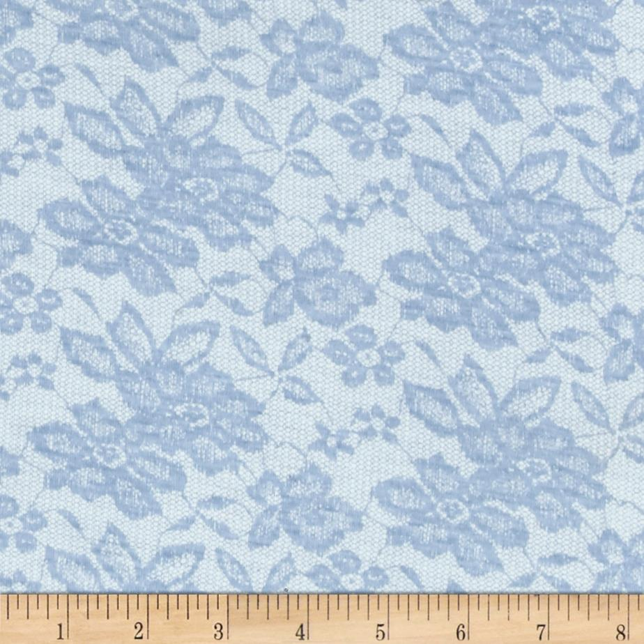 Jersey Knit Blue Lace Daisies on Ivory