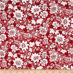 Season's Greetings Floral Red