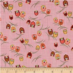 Kokka Owls on Branches Pink