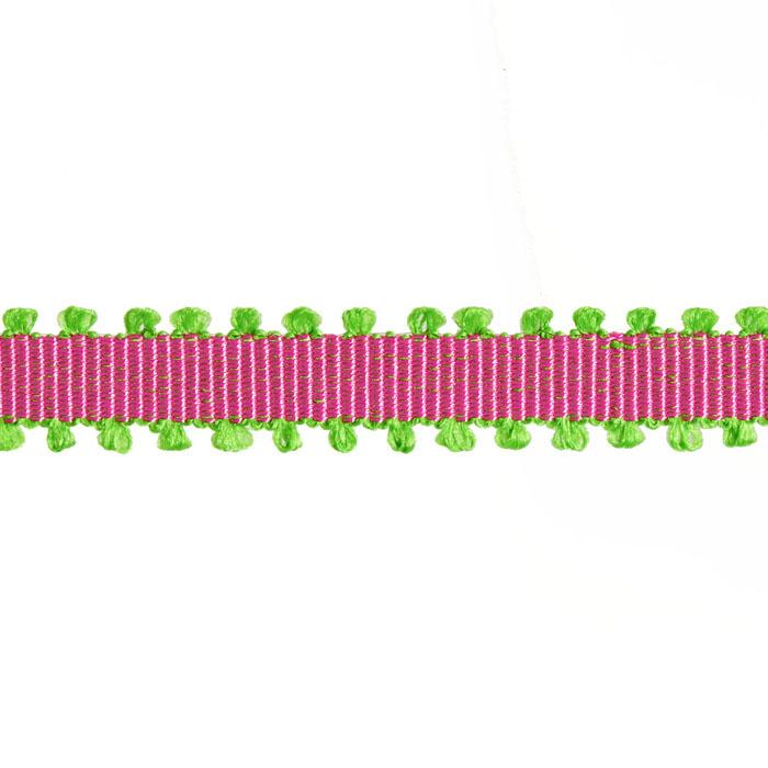 "1/4"" Grosgrain Picot Edge Ribbon Fuchsia/Parrot Green"