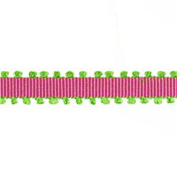 1/4'' Grosgrain Picot Edge Ribbon Fuchsia/Parrot Green
