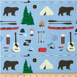 Take a Hike Camping Motifs Blue
